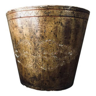 Vintage Florentine Oval Decorative Gold Gilt Wastebasket