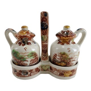 Vintage Transferware Salt Pepper Shaker & Caddy For Sale