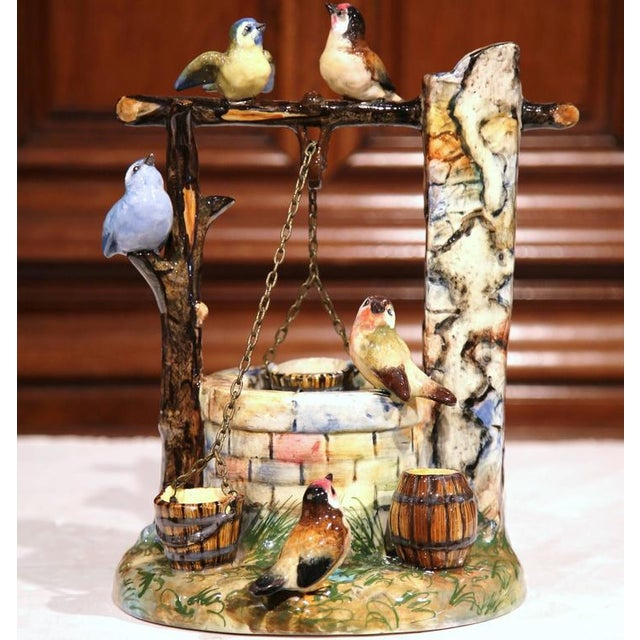 19th Century Hand-Painted Barbotine Majolica Well Sculpture With Birds Signed J. Massier - Image 2 of 10