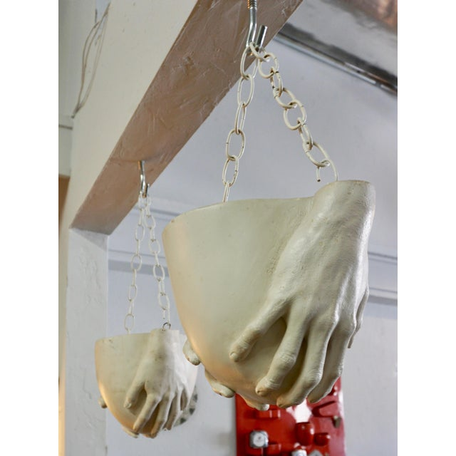 "Metal 1970s Vintage Richard Etts Hanging ""Hands"" Planters - a Pair For Sale - Image 7 of 9"