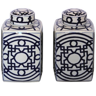 Blue & White Ginger Jars - a Pair For Sale