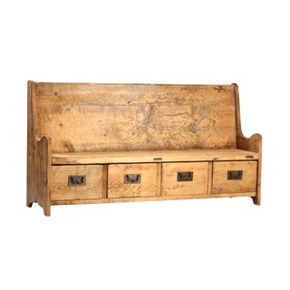 Reclaimed Wood Bench W/Drawers For Sale