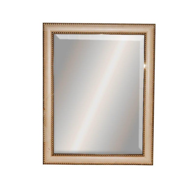 Gold Contemporary Cream Crackle Finished Rectangular Wood Framed Wall Mirror For Sale - Image 8 of 8