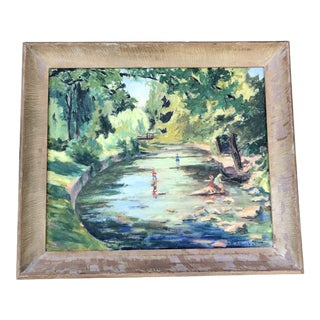1980s M.Bickel Children Playing in Stream Landscape Painting For Sale
