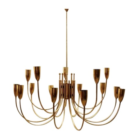 Two Pairs of 1970s Brass Chandeliers For Sale