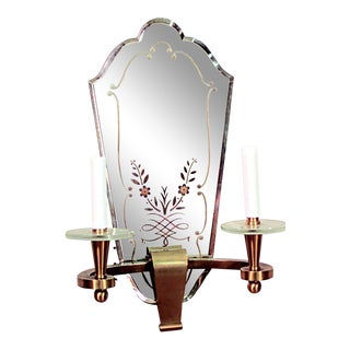 French Art Deco Ormolu and Etched Mirror 2 Arm Wall Sconces For Sale
