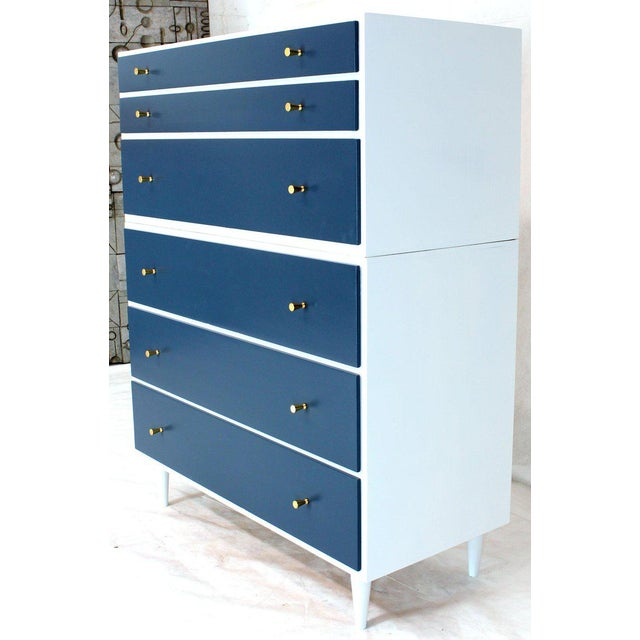 White and Blue High Chest on Chest Two Pieces McCobb Dresser Cabinet Six Drawers For Sale - Image 12 of 12