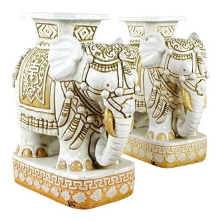 Asian Style Painted Ceramic Elephant Table Sculptures / Garden Stools - a Pair For Sale
