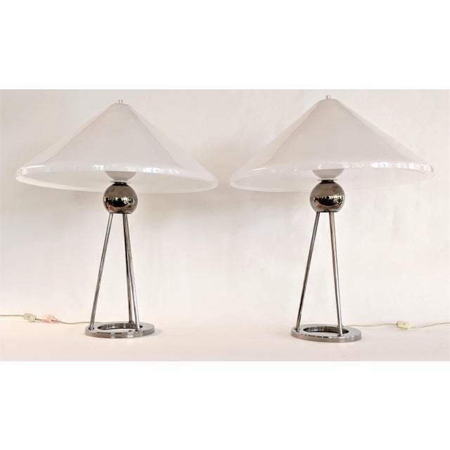 Transitional 1970s Vintage Van Nessen Chrome and Lucite Table Lamps - A Pair For Sale - Image 3 of 13