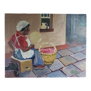 1960s Black Americana Woman With Fan Oil Painting on Wood Panel Signed Gfjh (1960) For Sale