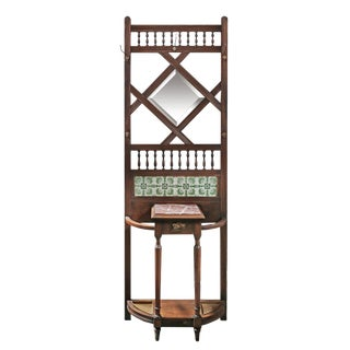 Early 20th Century Brown Wood and Tile Hall Stand For Sale