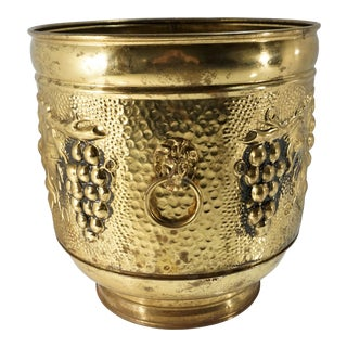 Vintage English Brass Repousse Planter With Grapes and Lion Head Ring Handles For Sale