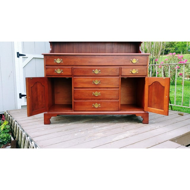 1950s Frederick Duckloe & Bros Solid Wild Black Cherry Sideboard & China Cabinet Hutch For Sale - Image 5 of 13