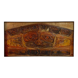 Mid-Century Russell Tiki Painting For Sale