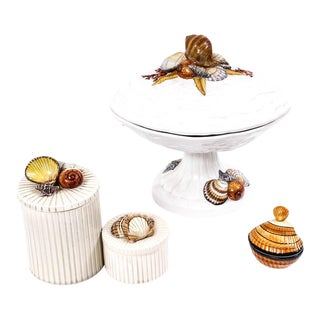 Vintage Shell Motif Tableware Including Italian Handmade Compote & Fitz & Floyd Vessels For Sale