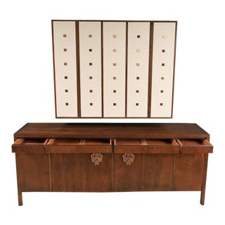 Bert England Walnut, White and Brass Sideboard With Floating Wall Cabinet For Sale