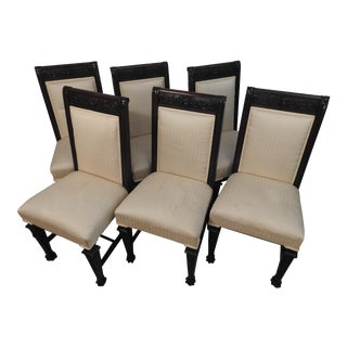 Horner Cream Cotton Upholstery Art Nouveau Chairs- Set of 6 For Sale