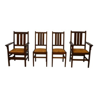 Early 20th Century Antique Gustav Stickley Mission Oak Dining Chairs- Set of 4 For Sale