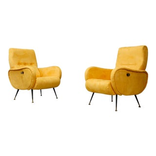 Pair of MidCentury Reclining Armchairs in Yellow Velvet in Zanuso Style, 1950s For Sale