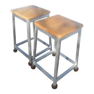 Brushed Aluminum Bar Stools - A Pair For Sale