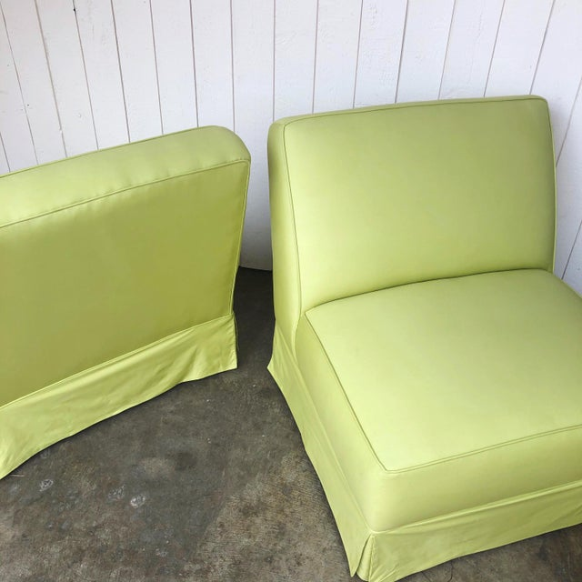 Textile Vintage Custom Made Skirted Lounge Chairs in New Chartreuse Fabric - a Pair For Sale - Image 7 of 11