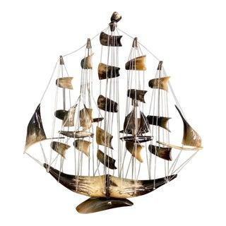 Large Mid-Century Italian Horn Ships Model For Sale