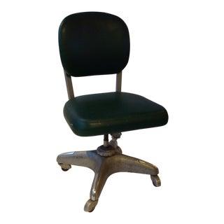 Mid-Century Green Vinyl Office Chair
