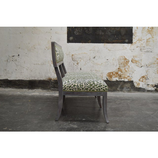 Gray Dining Banquette in Green Leopard For Sale - Image 4 of 8