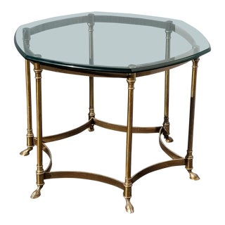 Vintage French Provincial Hexagon Brass Console Coffee Table W Hoof Feet For Sale