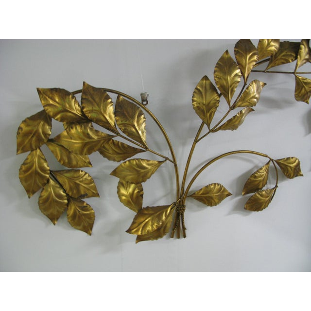 Vintage Mid Century Hollywood Regency Italian Gilded Leaves Wall Sculpture For Sale - Image 4 of 11