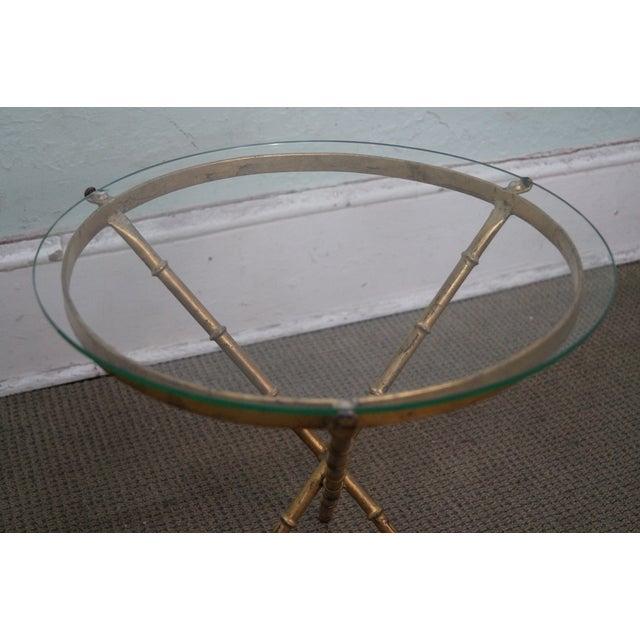 Hollywood Regency Vintage Gilt Metal Faux Bamboo Side Table For Sale - Image 3 of 10