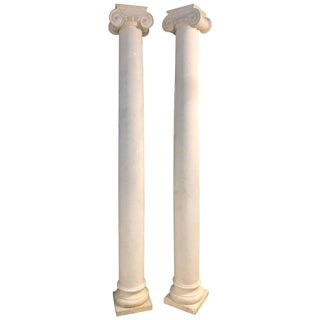 Pair of Columns Having Corinthian Carved Capitals Composite or Fiberglass For Sale