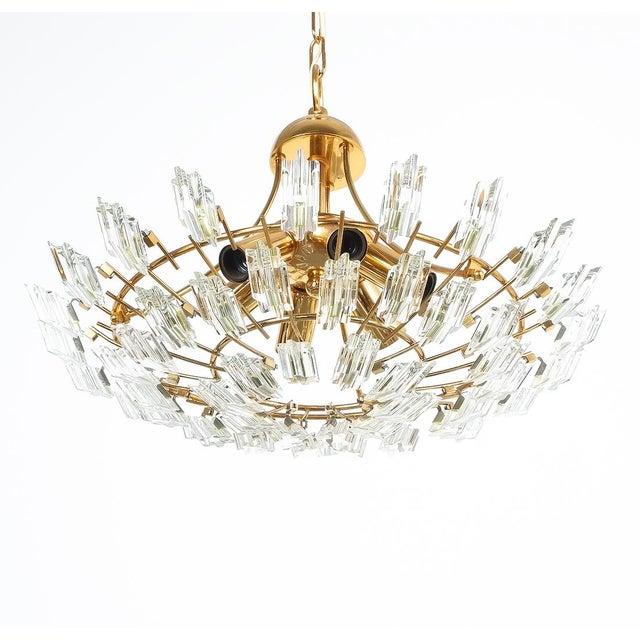 Gold Italian Stilkrone Crystal Glass and Gilded Brass Flush Mount For Sale - Image 8 of 8