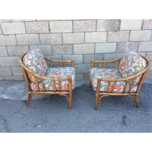 Pair of beautiful McGuire of San Francisco chairs. Original condition. At some point, (prior to my ownership), the...