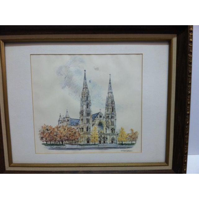 """This is a Framed and Matted Original Print showing """"St. Paul's Cathedral"""" in Pittsburgh, Pennsylvania. The Print is dated..."""