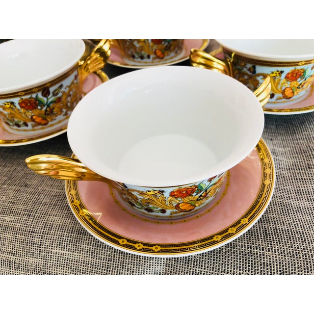 Rosenthal Italian Rosenthal Versace Butterfly Garden Soup Cups and Saucers - 8 Pieces For Sale - Image 4 of 7