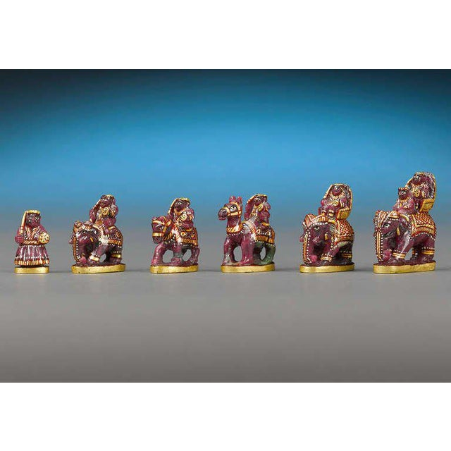 Indian Emerald and Ruby Chess Set For Sale - Image 4 of 6
