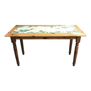 Knotty Oak Wood Farm-Style Table With Fruit & Tile Top For Sale
