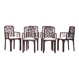 Gorgeous Chinese Chippendale Style Fretwork Dining Chairs - Set of 6
