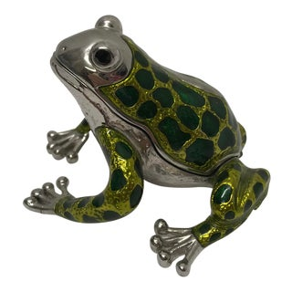 Jeweled Nickel Frog Box For Sale