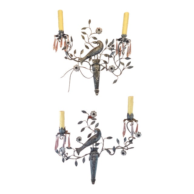 Italian Iron and Crystal Sconces - a Pair For Sale