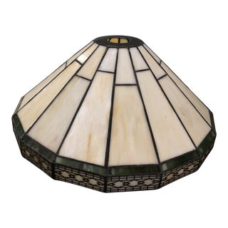 Mission Slag Arts & Crafts Spectrum Glass Lamp Shade For Sale
