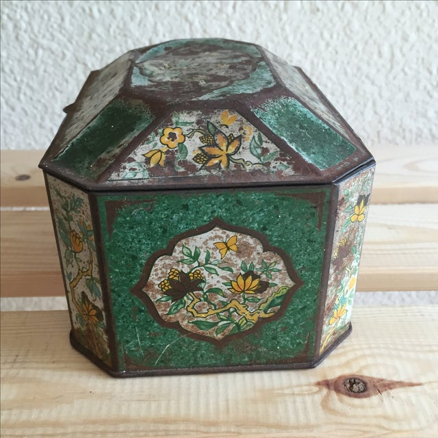 Chinoiserie Flowers English Metal Box - Image 5 of 7