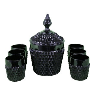 Black Cameo by Tiara Hobnail Ice Bucket and Glasses - Set of 7