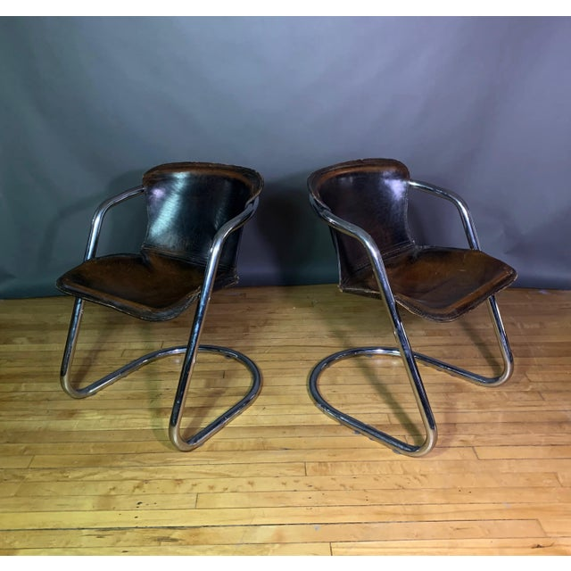 Animal Skin Vintage Willy Rizzo Dining Chairs for Cidue, Italy 1970s For Sale - Image 7 of 13
