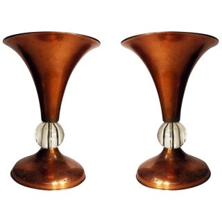 Pair of Copper Midcentury Half Glass Torchiere Table Lamps For Sale