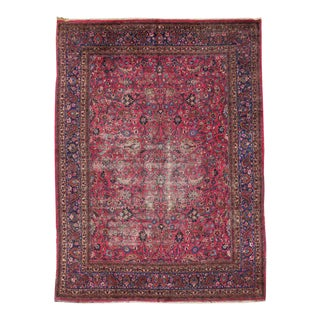 Distressed Vintage Persian Mashhad Rug with Modern Style