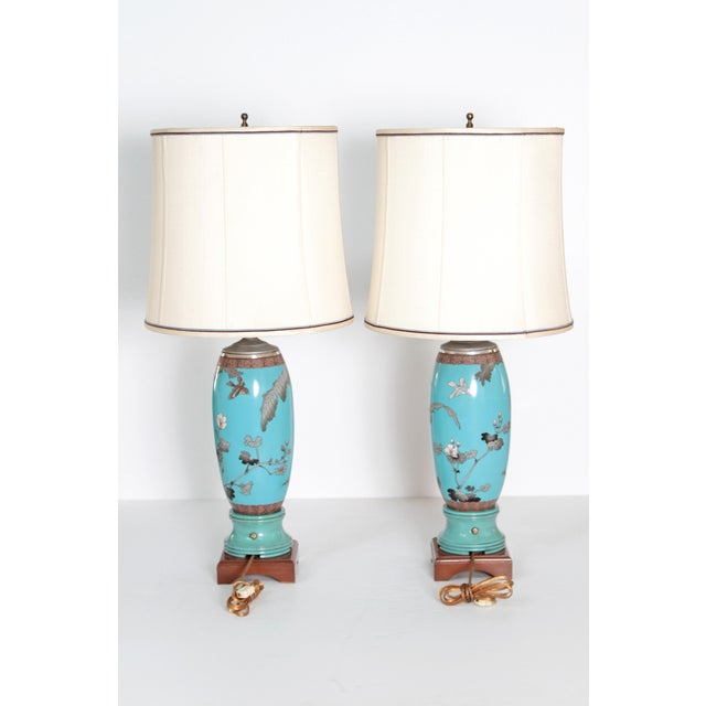 Pair 19th Century of French Cloisonne Lamps - Image 5 of 11