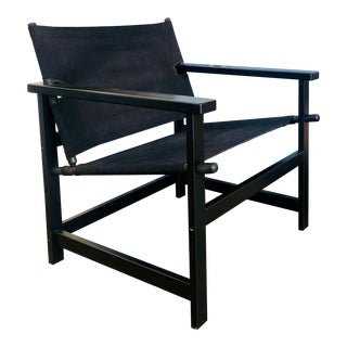 Late 20th Century Vintage Black Canvas Safari Style Chair For Sale