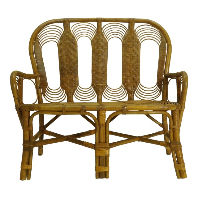 Vintage Boho Chic Rattan Settee For Sale